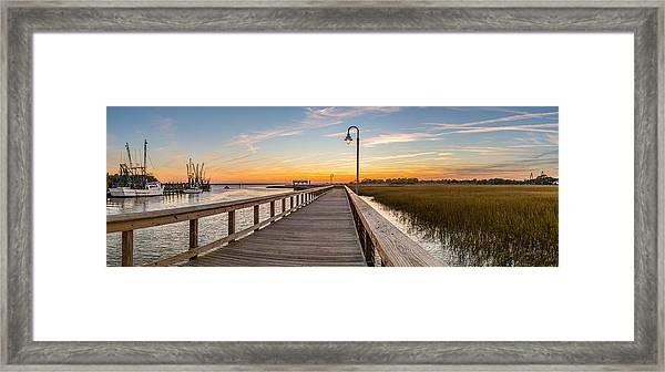 Shem Creek Pier Panoramic Framed Print