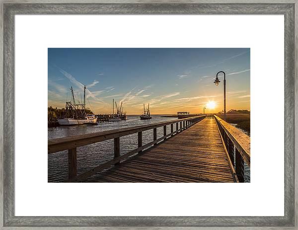 Shem Creek Pier Sunset - Mt. Pleasant Sc Framed Print