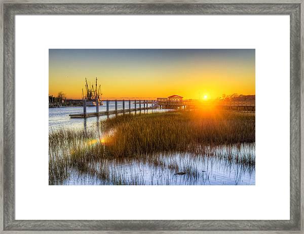 Shem Creek Sunset - Charleston Sc  Framed Print