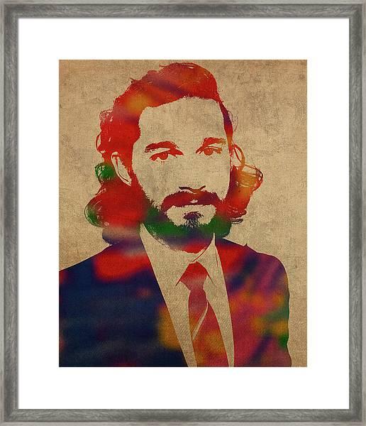 Shia Labeouf Watercolor Portrait Framed Print