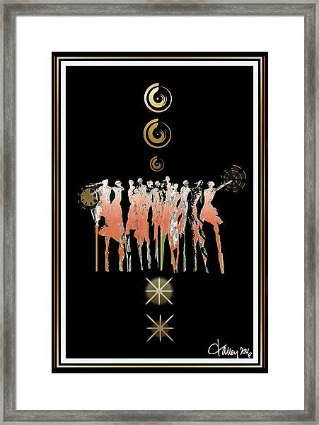 Framed Print featuring the digital art Women Chanting - Shieldmaidens by Larry Talley