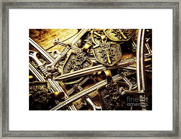 Shields And Swords Weapons Framed Print