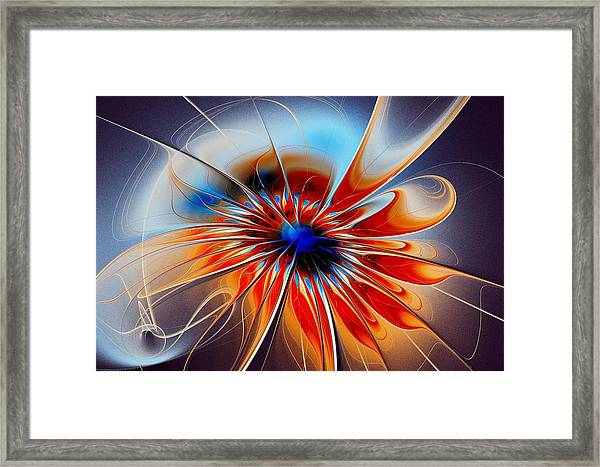 Shining Red Flower Framed Print