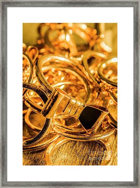 Shiny Gold Rings Framed Print