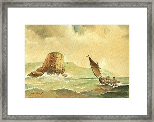 Ship At The Storm Framed Print