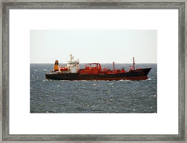 Ship Leaving Galveston Framed Print by Bill Perry