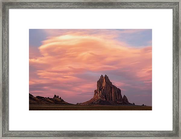 Shiprock At Sunset Framed Print