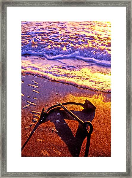 Ships Anchor On Beach Framed Print