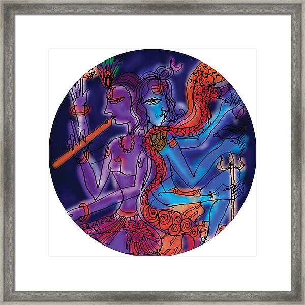 Shiva And Krishna Framed Print
