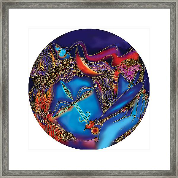 Shiva Blowing The Horn Framed Print