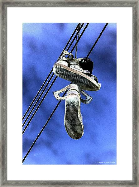 Framed Print featuring the photograph Shoefiti 13115 by Brian Gryphon