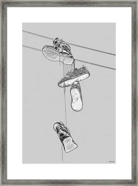 Shoefiti 2103bw Framed Print