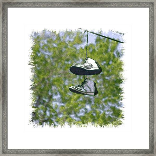Framed Print featuring the digital art Shoefiti 23625 by Brian Gryphon
