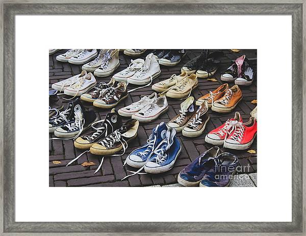 Shoes At A Flea Market Framed Print