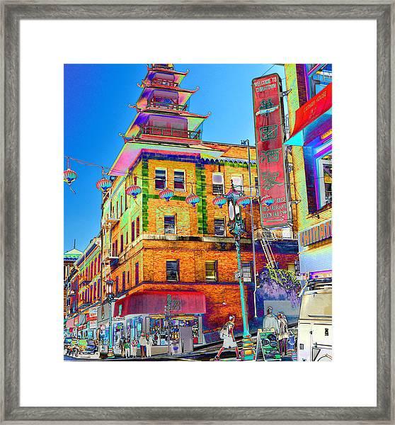 Shopping China Town Framed Print