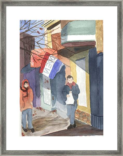 Shopping On Exchange Street Framed Print by Jane Croteau
