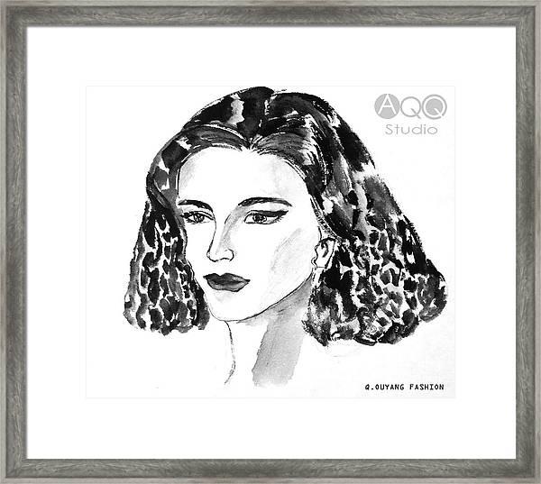 Short Hair Fashion Lady Framed Print