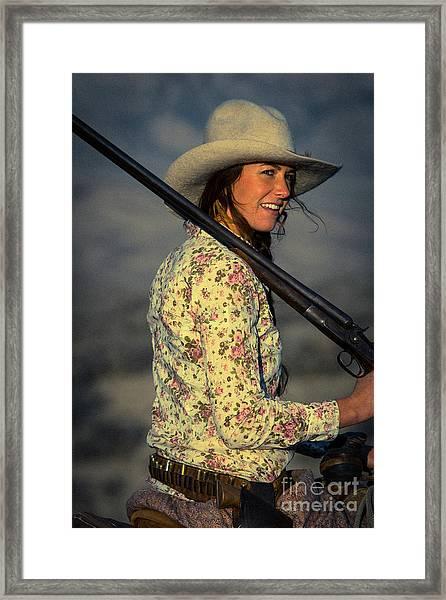 Shotgun Annie Western Art By Kaylyn Franks Framed Print