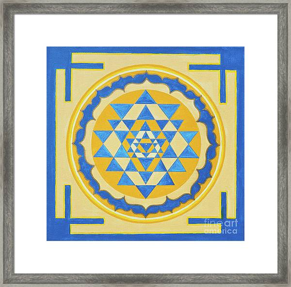 Framed Print featuring the photograph Shri Yantra For Meditation Painted by Raimond Klavins