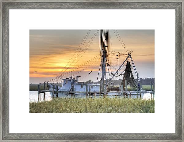 Shrimp Boat Sunset Charleston Sc Framed Print