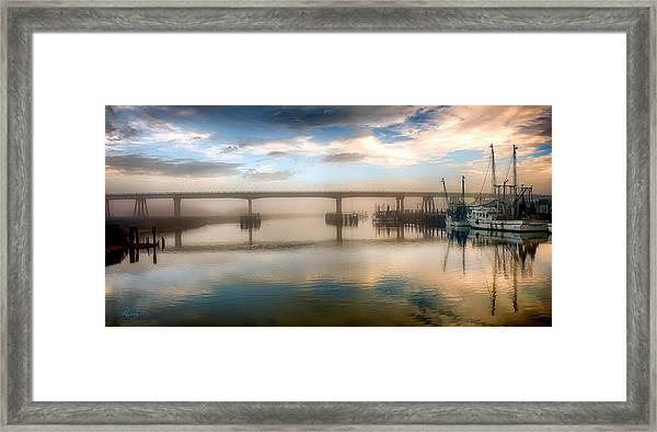 Shrimp Boats At Sunrise Framed Print