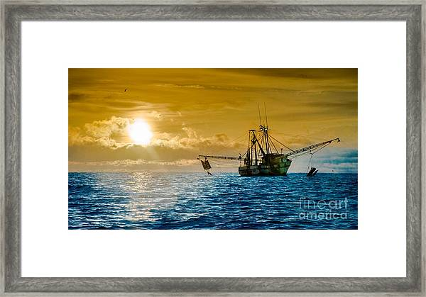Shrimp Trawler At Dawn Framed Print