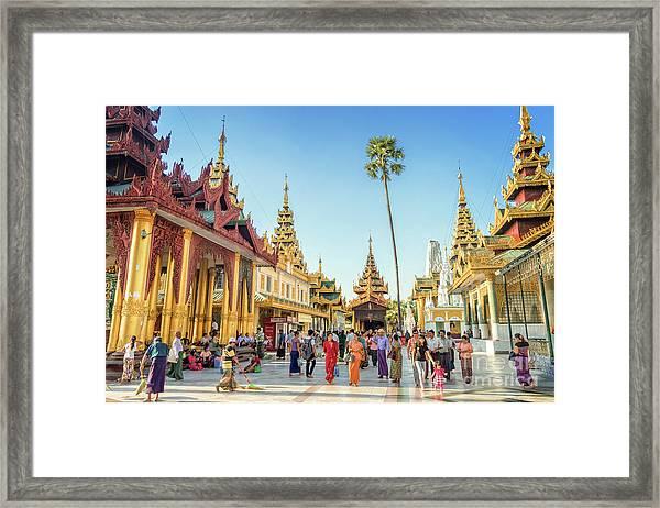 Shwedagon Pagoda Framed Print by Louise Poggianti