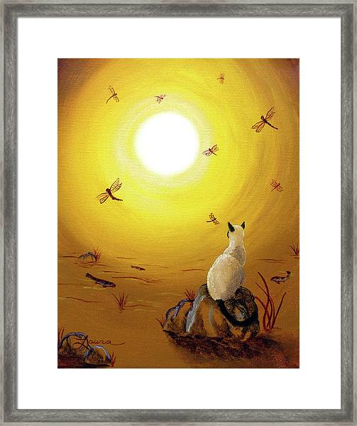 Siamese Cat With Red Dragonflies Framed Print