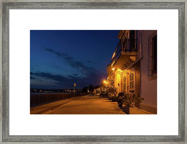 Sicilian Blue Hour At Syracuse Seaside Promenade Framed Print