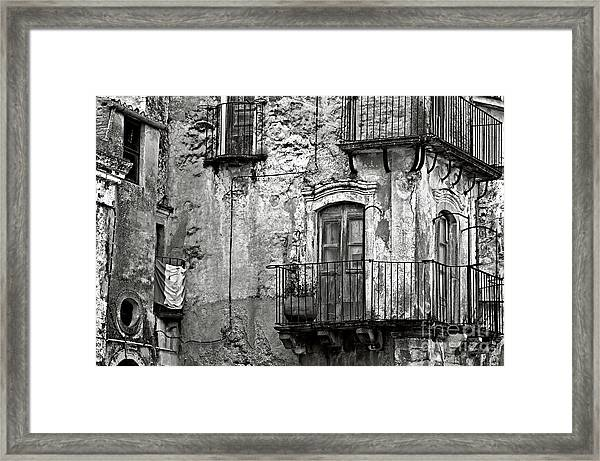 Sicilian Medieval Facade Framed Print
