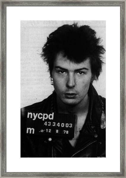 Sid Vicious Mug Shot Vertical Framed Print