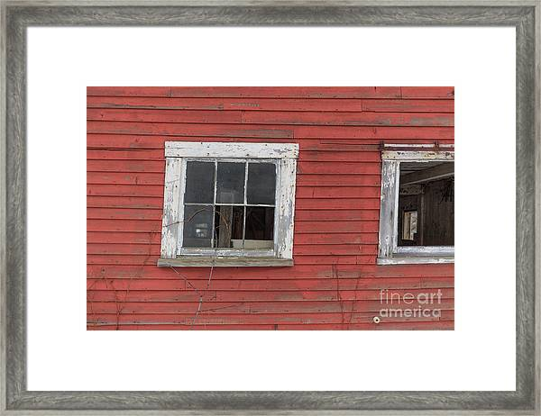 Side Of An Old Red Barn Quechee, Vermont Framed Print