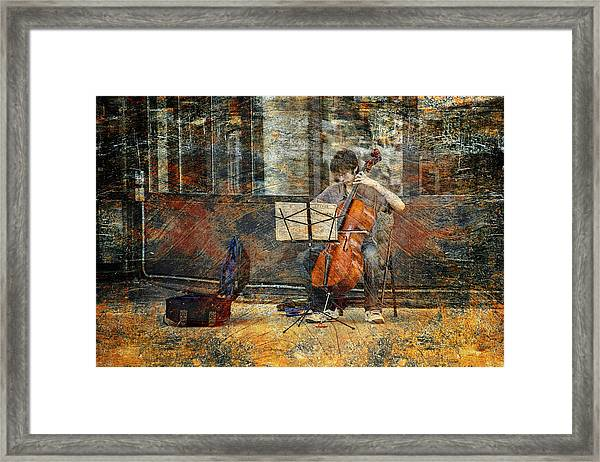 Sidewalk Cellist Framed Print