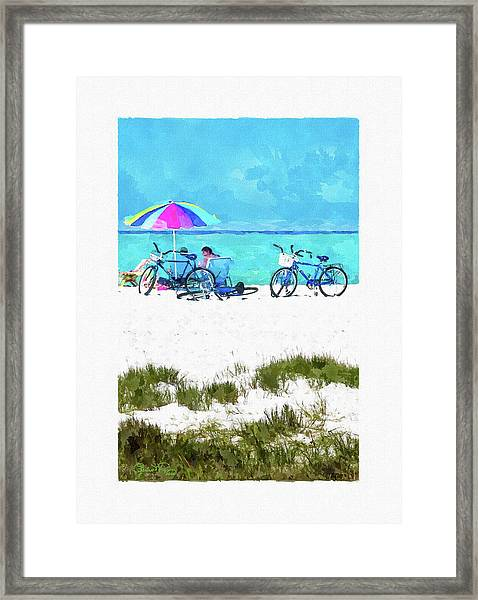 Siesta Key Beach Bikes Framed Print