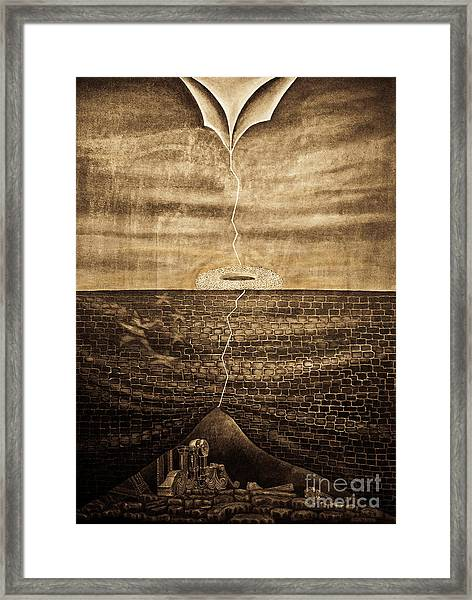 Silent Echo Beige Framed Print