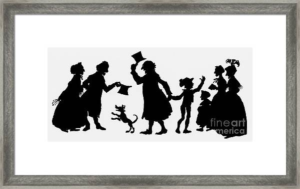 Silhouette Illustration From A Christmas Carol By Charles Dickens Framed Print