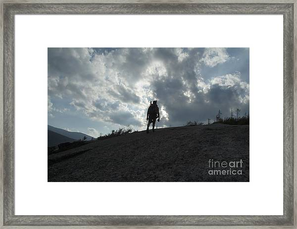 Silhouette Of A Hiker On Middle Sugarloaf Mountain - White Mountains New Hampshire Usa Framed Print
