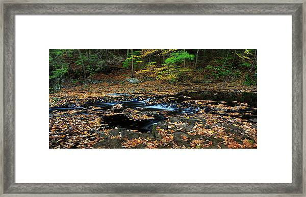 Silky New England Stream In Autum Framed Print