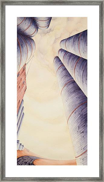 Framed Print featuring the painting Silos Iv by Scott Kirby