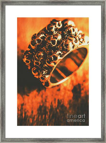 Silver Skulls Pirate Ring Framed Print