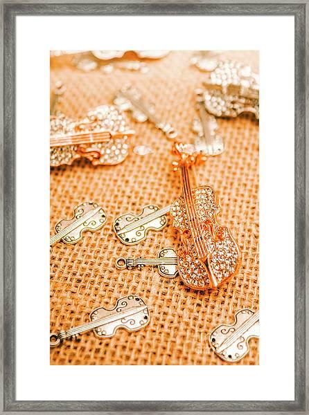 Silver Violin Pendant With Diamonds Framed Print