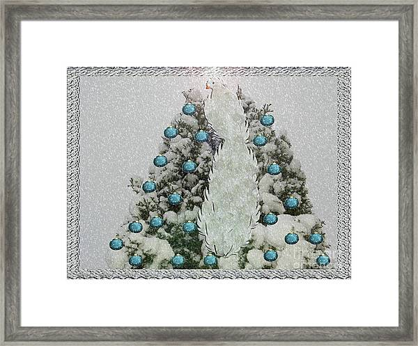 Silver Winter Bird Framed Print