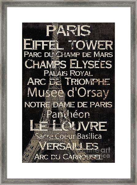 Simple Speak Paris Framed Print