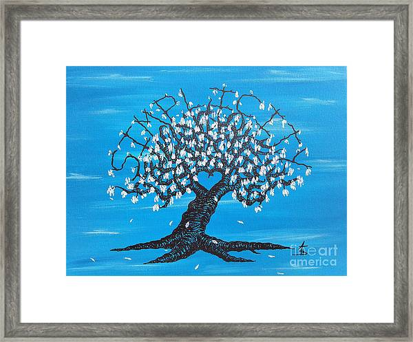 Framed Print featuring the drawing Simplicity Love Tree by Aaron Bombalicki