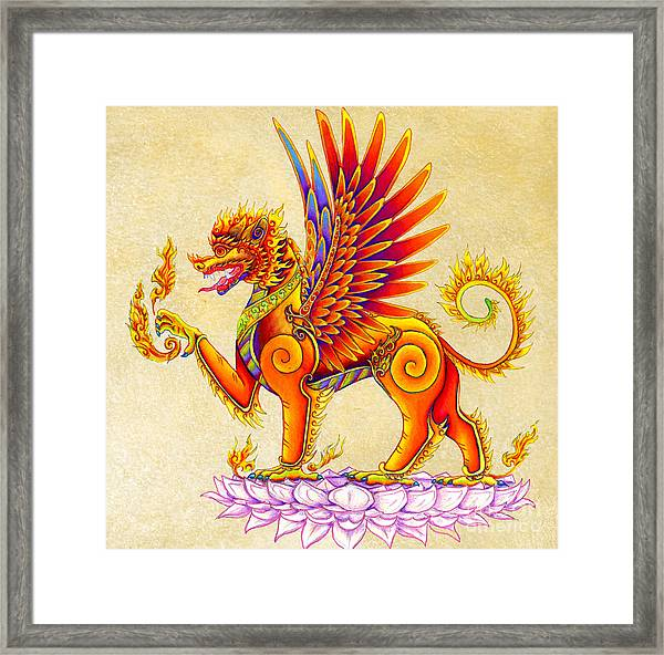 Singha Winged Lion Framed Print
