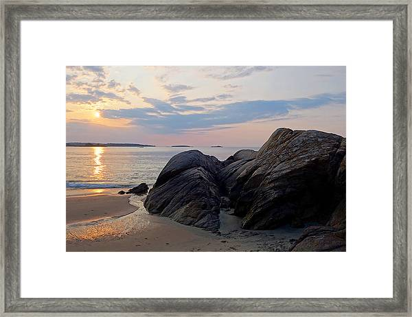 Singing Beach Rocky Sunrise Manchester By The Sea Ma Framed Print