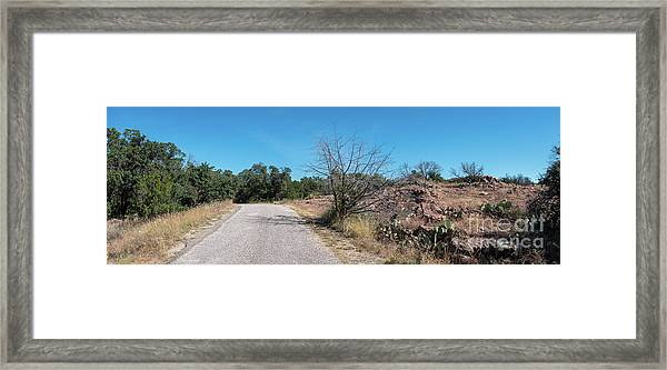 Single Lane Road In The Hill Country Framed Print