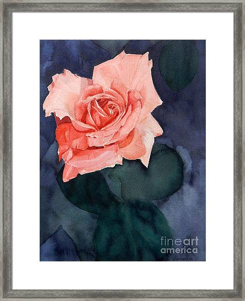 Watercolor Of A Magic Bright Single Red Rose Framed Print