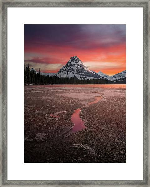 Sinopah Mountain Sundown // Two Medicine Lake, Glacier National Park  Framed Print