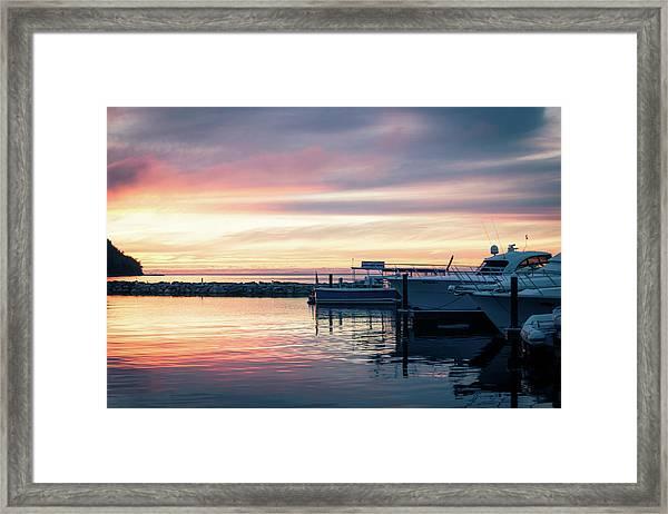 Sister Bay Marina At Sunset Framed Print